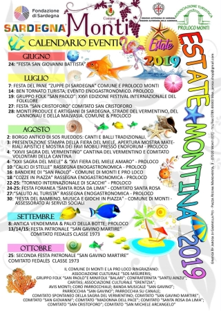 Calendario eventi 'estate montina 2019'