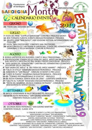 Calendario eventi 'estate montina 2019'