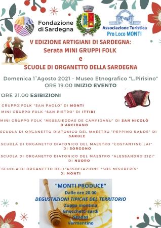 'Monti Produce' e V edizione di 'Artigiani di Sardegna': Serata mini gruppi folk e scuole di organetto della Sardegna
